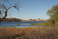 Watson Lake Prescott Arizona. Granite rocks line scenic Watson Lake in Prescott, Arizona Royalty Free Stock Images