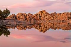 Watson Lake Prescott Arizona Sunset. A beautiful sunset reflection at Watson Lake Prescott Arizona Royalty Free Stock Photos