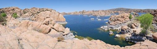 Watson Lake Prescott, AZ-panorama Arkivbilder
