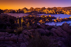 Watson Lake, Rock Formations at Sunset. Watson lake in Prescott Arizona, rafting, boating and recreation. Granite boulders and very rock on banks. Island with Stock Image