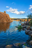 Watson Lake Scenic Reflection Royaltyfri Fotografi