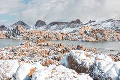 Watson Lake Snow Royaltyfria Bilder