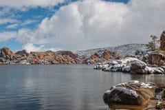 Watson Lake Snow Royaltyfria Foton