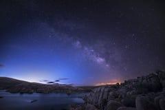 Watson Lake starscape Royaltyfri Foto