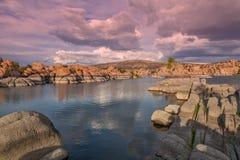 Watson Lake at Sunset Stock Photo