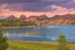 Watson Lake Sunset Monsoon Storm imagem de stock royalty free