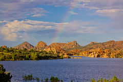 Watson Lake Sunset Rainbow Stock Images
