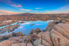 Watson Lake Sunset Stock Image