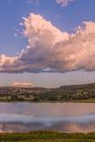 Watson Lake Sunset Storm Clouds Fotografia Stock Libera da Diritti