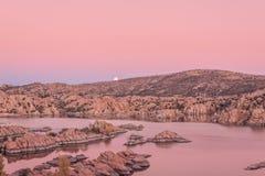 Watson Lake Supermoon at Sunset Royalty Free Stock Photo