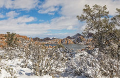 Watson Lake Winter Landscape Royaltyfri Bild