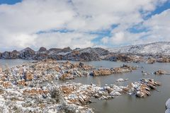 Watson Lake Winter Landscape. A snow covered winter landscape at Watson Lake Prescott Arizona Royalty Free Stock Photos