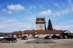 Watson Lake, Yukon, Canada airport tower royalty free stock image