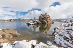 Watson prescotta Arizona zimy Jeziorny krajobraz Zdjęcie Stock