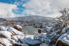 Watson prescotta Arizona zimy Jeziorny śnieg Zdjęcia Royalty Free