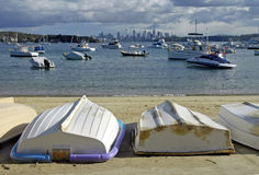 Watsons Bay beach. Boats moored off Watsons Bay beach with Sydney city skyline in background; New South Wales, Australia Royalty Free Stock Image