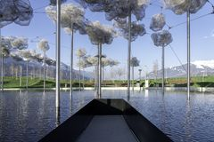 Wattens, Austria  - April 1, 2019: The beautiful crystal clouds in Swarovski Kristallwelten Crystal Worlds museum - Immagine.  stock photo