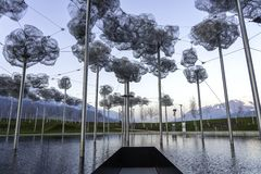 Wattens, Austria  - April 1, 2019: The beautiful crystal clouds in Swarovski Kristallwelten Crystal Worlds museum - Immagine.  royalty free stock photos