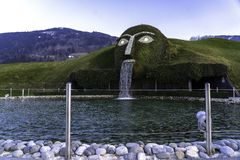 Wattens, Austria - April 1, 2019: The entrance to Swarovski Crystal Worlds Swarovski Kristallwelten in Wattens. Swarovski. Crystal Worlds Innsbruck Store royalty free stock images