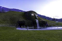 Wattens, Austria - April 1, 2019: The entrance to Swarovski Crystal Worlds Swarovski Kristallwelten in Wattens. Swarovski. Crystal Worlds Innsbruck Store stock photo