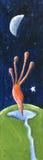 Watter bebendo do pássaro da fantasia na noite Imagens de Stock Royalty Free