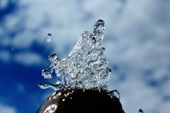 The Watter. Crystal watter and drops watter with sky royalty free stock image