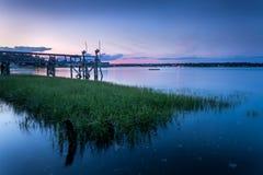 Watter herboso en puerto bajo puesta del sol rosada Fotos de archivo