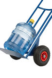 Watter jug on the cart. Clode-up of hand truck with a water jug. On it isolated on white Royalty Free Stock Photo