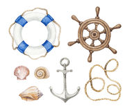 Wattercolor nautical illustrations Royalty Free Stock Images