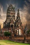 柴Watthanaram寺庙废墟 ayutthaya泰国 免版税库存照片