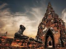 柴Watthanaram寺庙废墟 ayutthaya泰国 免版税图库摄影