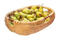 Wattle basket full of bio pears Stock Image