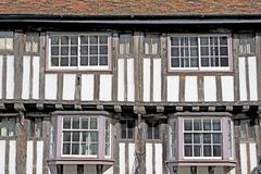 Wattle And Daub Building, Cambridge, England. Side view of a historic wattle and daub (black and white) building on Bridge Street in Cambridge, England Royalty Free Stock Photo