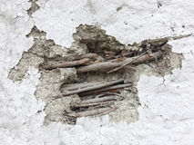 Wattle and Daub Exterior. Close up of a wattle and daub exterior wall which has been damaged Royalty Free Stock Photo