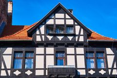 Wattle and daub tenement house. In the city of Poznan in Poland royalty free stock photo