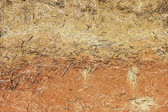 Wattle-and-daub wall of a residential village house made of straw and two kinds of clay of different colors. Wattle-and-daub wall of a residential village house Stock Photos