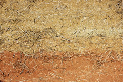 Wattle-and-daub wall of a residential village house made of straw and two kinds of clay of different colors. Wattle-and-daub wall of a residential village house Royalty Free Stock Image