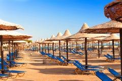 Wattled在晴朗的夏天海滩的秸杆伞 埃及 Sharm els 库存照片