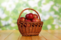 Wattled basket with the apples Royalty Free Stock Image