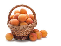 Wattled basket with apricots Royalty Free Stock Photo
