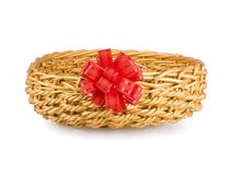 Wattled basket with a red bow Stock Photos