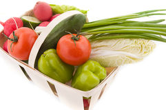 Wattled basket with vegetable Stock Photography