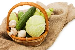 Wattled basket with vegetables Stock Image