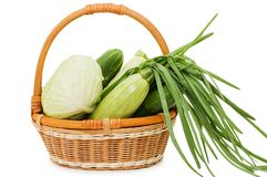 Wattled basket with vegetables Royalty Free Stock Photography