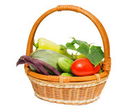 Wattled basket with vegetables Royalty Free Stock Images