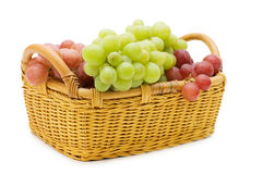 Wattled Basket With Grapes Royalty Free Stock Photos