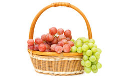 Wattled Basket With Grapes Stock Images