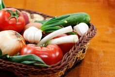 Wattled Basket With Vegetable Royalty Free Stock Photos