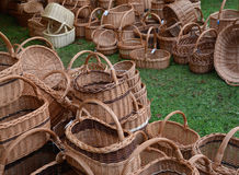 Wattled baskets at fair of national creativity Stock Image