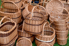 Wattled baskets at fair of national creativity Royalty Free Stock Image